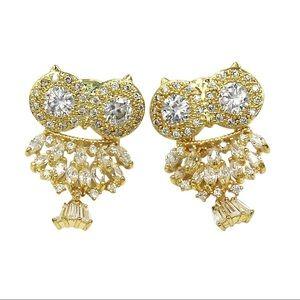 Lovely gold crystal pendant owl earrings